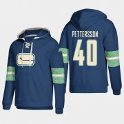 Wholesale Cheap Vancouver Canucks #40 Elias Pettersson Blue adidas Lace-Up Pullover Hoodie