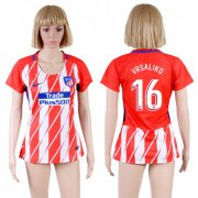 Wholesale Cheap Women's Atletico Madrid #16 Vrsaliko Home Soccer Club Jersey