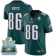 Wholesale Cheap Nike Eagles #86 Zach Ertz Midnight Green Team Color Super Bowl LII Champions Men's Stitched NFL Vapor Untouchable Limited Jersey