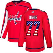 Wholesale Cheap Adidas Capitals #77 T.J. Oshie Red Home Authentic USA Flag Stitched Youth NHL Jersey