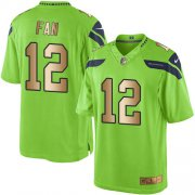 Wholesale Cheap Nike Seahawks #12 Fan Green Men's Stitched NFL Limited Gold Rush Jersey