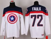 Wholesale Cheap Olympic Team USA #72 Justin Faulk White Captain America Fashion Stitched NHL Jersey