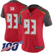 Wholesale Cheap Nike Buccaneers #93 Ndamukong Suh Red Team Color Women's Stitched NFL 100th Season Vapor Untouchable Limited Jersey