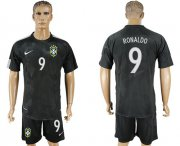 Wholesale Cheap Brazil #9 Ronaldo Black Soccer Country Jersey