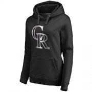Wholesale Cheap Women's Colorado Rockies Platinum Collection Pullover Hoodie Black