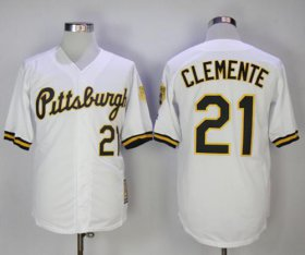 Wholesale Cheap Mitchell And Ness 1990-1997 Pirates #21 Roberto Clemente White Throwback Stitched MLB Jersey