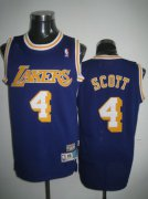 Wholesale Cheap Los Angeles Lakers #4 Byron Scott Purple Swingman Throwback Jersey