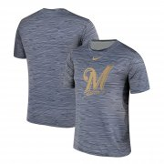 Wholesale Cheap Nike Milwaukee Brewers Gray Black Striped Logo Performance T-Shirt