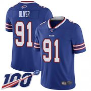 Wholesale Cheap Nike Bills #91 Ed Oliver Royal Blue Team Color Men's Stitched NFL 100th Season Vapor Limited Jersey