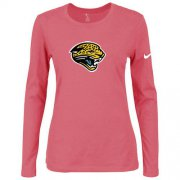 Wholesale Cheap Women's Nike Jacksonville Jaguars Of The City Long Sleeve Tri-Blend NFL T-Shirt Pink