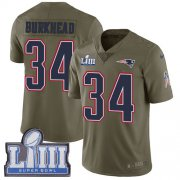 Wholesale Cheap Nike Patriots #34 Rex Burkhead Olive Super Bowl LIII Bound Men's Stitched NFL Limited 2017 Salute To Service Jersey