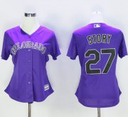 Wholesale Cheap Rockies #27 Trevor Story Purple Women's Alternate Stitched MLB Jersey