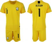 Wholesale Cheap Brazil #1 Alisson Yellow Goalkeeper Soccer Country Jersey