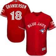 Wholesale Cheap Blue Jays #18 Curtis Granderson Red Flexbase Authentic Collection Canada Day Stitched MLB Jersey