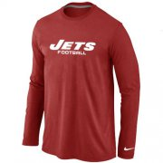 Wholesale Cheap Nike New York Jets Authentic Font Long Sleeve T-Shirt Red