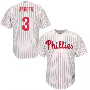 Wholesale Cheap Phillies #3 Bryce Harper White(Red Strip) Cool Base Stitched Youth MLB Jersey
