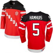Wholesale Cheap Olympic CA. #5 Dan Hamhuis Red 100th Anniversary Stitched NHL Jersey