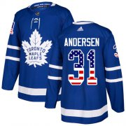 Wholesale Cheap Adidas Maple Leafs #31 Frederik Andersen Blue Home Authentic USA Flag Stitched NHL Jersey