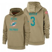 Wholesale Cheap Miami Dolphin #3 Josh Rosen Nike Tan 2019 Salute To Service Name & Number Sideline Therma Pullover Hoodie