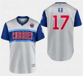 "Wholesale Cheap Cubs #17 Kris Bryant Gray ""KB\"" 2019 Little League Classic Stitched MLB Jersey"