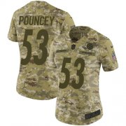 Wholesale Cheap Nike Steelers #53 Maurkice Pouncey Camo Women's Stitched NFL Limited 2018 Salute to Service Jersey