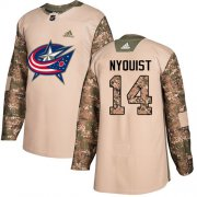 Wholesale Cheap Adidas Blue Jackets #14 Gustav Nyquist Camo Authentic 2017 Veterans Day Stitched NHL Jersey