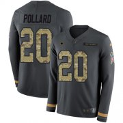 Wholesale Cheap Nike Cowboys #20 Tony Pollard Anthracite Salute to Service Youth Stitched NFL Limited Therma Long Sleeve Jersey