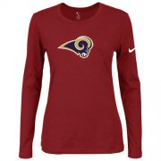 Wholesale Cheap Women's Nike Los Angeles Rams Of The City Long Sleeve Tri-Blend NFL T-Shirt Red