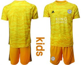 Wholesale Cheap Leicester City Blank Yellow Goalkeeper Kid Soccer Club Jersey