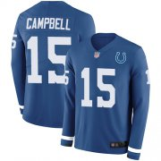 Wholesale Cheap Nike Colts #15 Parris Campbell Royal Blue Team Color Men's Stitched NFL Limited Therma Long Sleeve Jersey