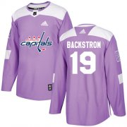 Wholesale Cheap Adidas Capitals #19 Nicklas Backstrom Purple Authentic Fights Cancer Stitched Youth NHL Jersey