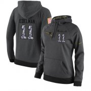 Wholesale Cheap NFL Women's Nike New England Patriots #11 Julian Edelman Stitched Black Anthracite Salute to Service Player Performance Hoodie