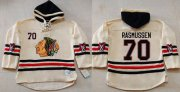 Wholesale Blackhawks #70 Dennis Rasmussen Cream Heavyweight Pullover Hoodie Stitched NHL Jersey