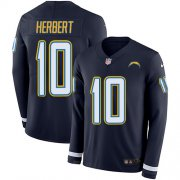 Wholesale Cheap Nike Chargers #10 Justin Herbert Navy Blue Team Color Men's Stitched NFL Limited Therma Long Sleeve Jersey