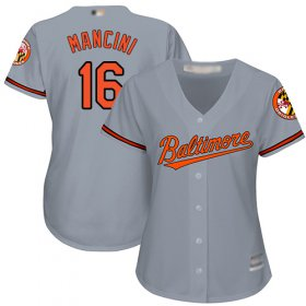 Wholesale Cheap Orioles #16 Trey Mancini Grey Road Women\'s Stitched MLB Jersey