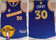 Wholesale Cheap Men's Warriors #30 Stephen Curry Blue New Throwback 2017 The Finals Patch Stitched NBA Jersey