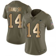 Wholesale Cheap Nike Patriots #14 Mohamed Sanu Sr Olive/Gold Women's Stitched NFL Limited 2017 Salute to Service Jersey