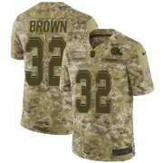 Wholesale Cheap Nike Browns #32 Jim Brown Camo Youth Stitched NFL Limited 2018 Salute to Service Jersey