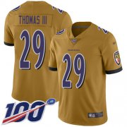 Wholesale Cheap Nike Ravens #29 Earl Thomas III Gold Men's Stitched NFL Limited Inverted Legend 100th Season Jersey