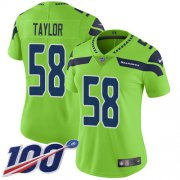 Wholesale Cheap Nike Seahawks #58 Darrell Taylor Green Women's Stitched NFL Limited Rush 100th Season Jersey