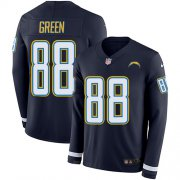Wholesale Cheap Nike Chargers #88 Virgil Green Navy Blue Team Color Men's Stitched NFL Limited Therma Long Sleeve Jersey