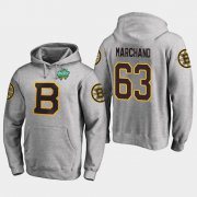 Wholesale Cheap Bruins #63 Brad Marchand Gray 2018 Winter Classic Fanatics Primary Logo Hoodie
