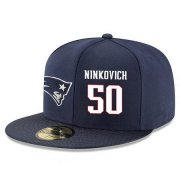 Wholesale Cheap New England Patriots #50 Rob Ninkovich Snapback Cap NFL Player Navy Blue with White Number Stitched Hat