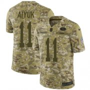 Wholesale Cheap Nike 49ers #11 Brandon Aiyuk Camo Men's Stitched NFL Limited 2018 Salute To Service Jersey