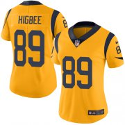 Wholesale Cheap Nike Rams #89 Tyler Higbee Gold Women's Stitched NFL Limited Rush Jersey