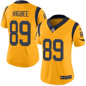 Wholesale Cheap Nike Rams #89 Tyler Higbee Gold Women\'s Stitched NFL Limited Rush Jersey