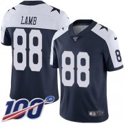 Wholesale Cheap Nike Cowboys #88 CeeDee Lamb Navy Blue Thanksgiving Youth Stitched NFL 100th Season Vapor Throwback Limited Jersey
