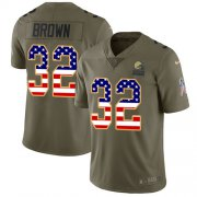 Wholesale Cheap Nike Browns #32 Jim Brown Olive/USA Flag Men's Stitched NFL Limited 2017 Salute To Service Jersey