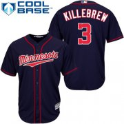 Wholesale Cheap Twins #3 Harmon Killebrew Navy blue Cool Base Stitched Youth MLB Jersey