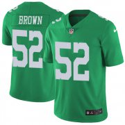 Wholesale Cheap Nike Eagles #52 Asantay Brown Green Men's Stitched NFL Limited Rush Jersey
